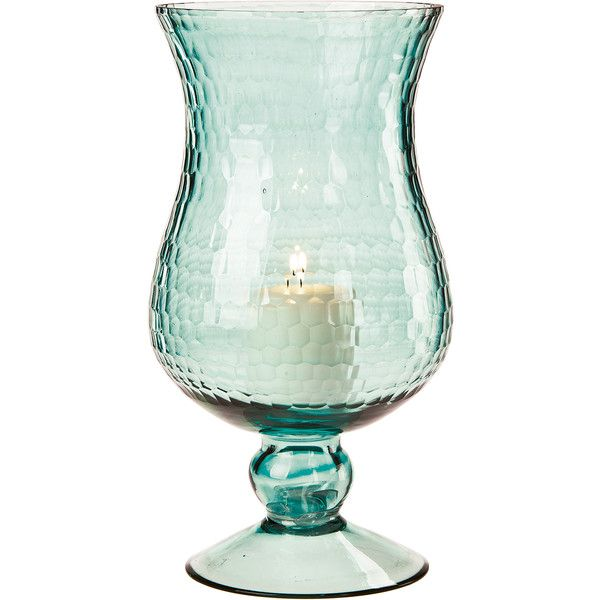 Large Glass Hurricane Candle Holder (10-Inch, Ice Blue) ($30) ❤ liked on Polyvore featuring home, home decor, candles & candleholders, candles, flower candle, hurricane glass candle, flower stems, hurricane candle holders and glass tealight