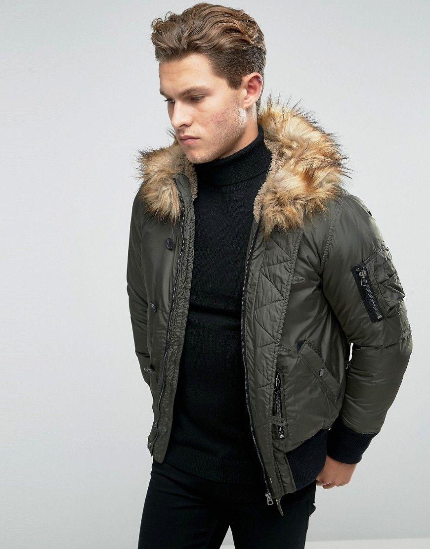 Image 1 Of Diesel W Esk Short Parka Jacket Faux Fur Trim Short Parka Parka Jacket Faux Fur Jacket [ 1110 x 870 Pixel ]