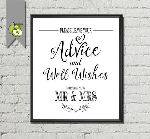 please leave your advice well wishes for the new mr mrs wedding table sign bride wishes for couple instant download white suite