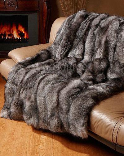 Premium Full Pelt Fur Blankets Silver Indigo Fox Throw Queen And King Size Fur Blanket Fur Bedding Fur Throw Blanket Queen size faux fur blanket