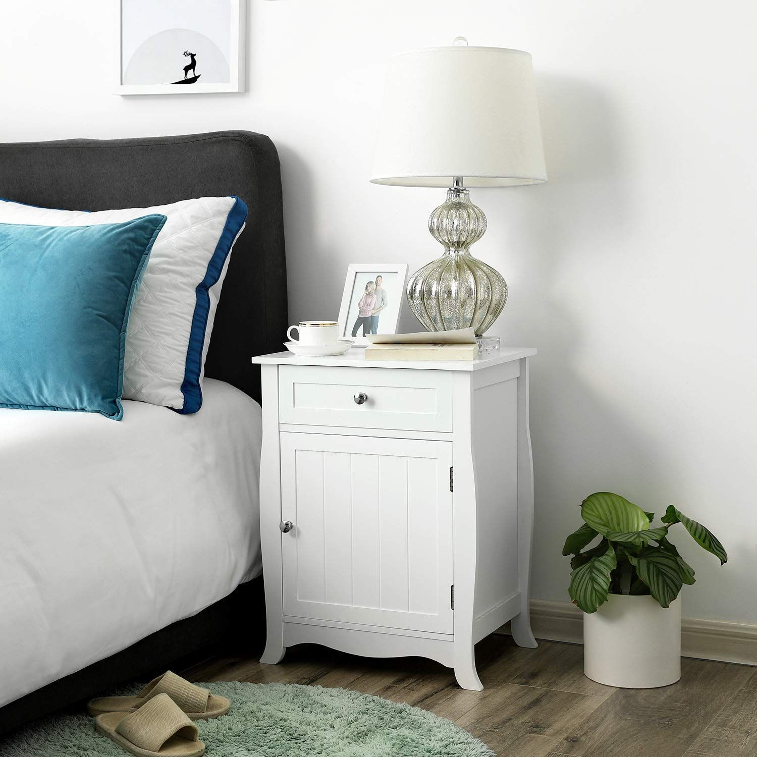 SONGMICS White Nightstand Bedside Table Wooden Ameriwood