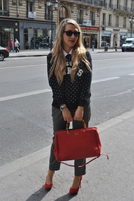 Paris sweater red gucci bamboo tote french bloggerParis Street style r Cest Paris sweater red gucci bamboo tote french bloggerParis Street style rCest Paris sweater red g...