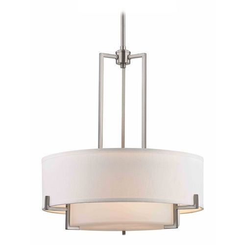 Modern Drum Pendant Light With White Gl In Satin Nickel