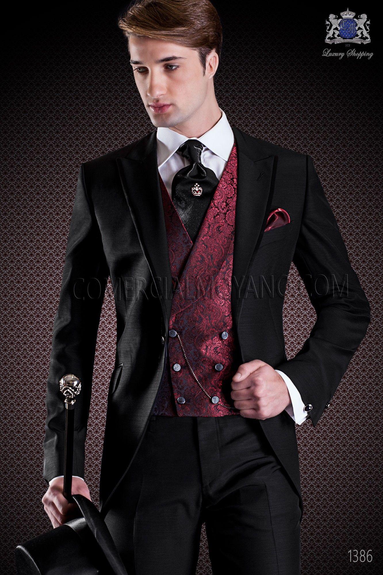 italienischer br utigam anzug mit schmal geschnittener schwarz spitz rever mit kontrast. Black Bedroom Furniture Sets. Home Design Ideas