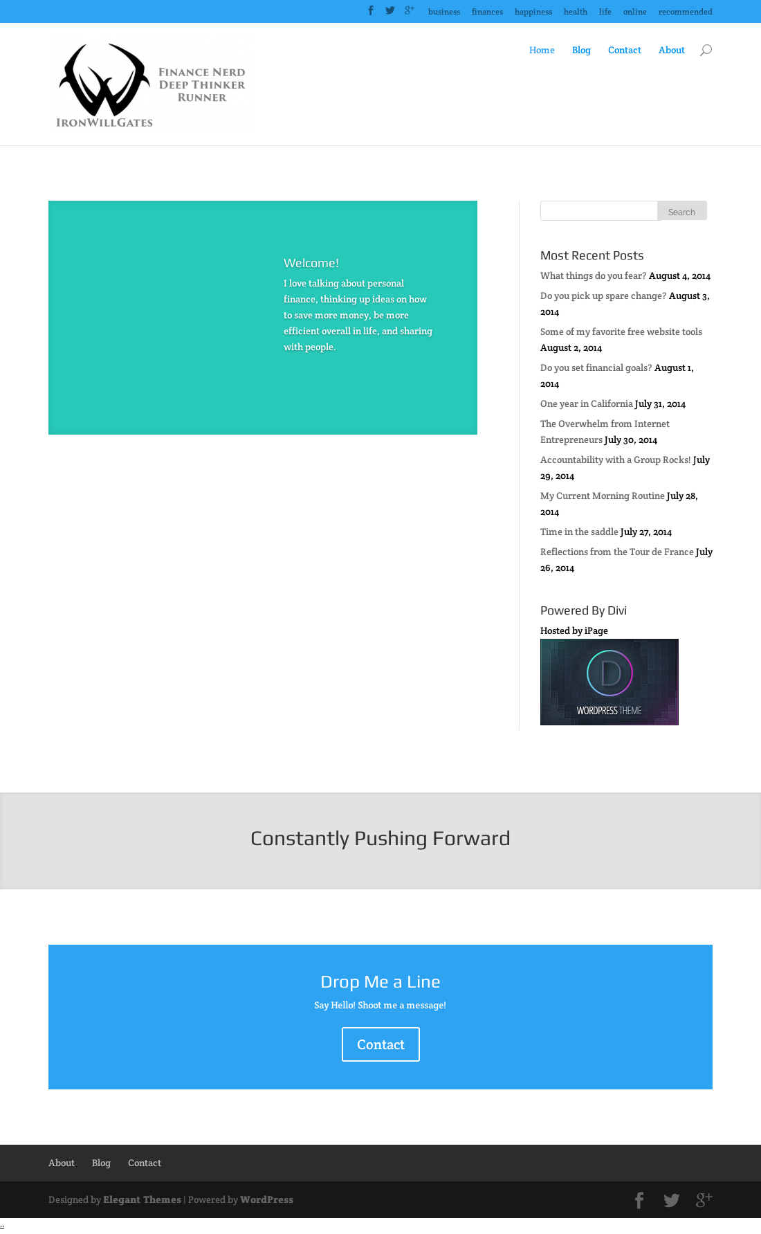 Designed by elegant themes powered by wordpress -  Finance Website On Wordpress Using The Divi Theme Designer William Gates