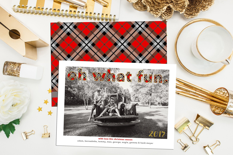 Oh What Fun Plaid Christmas. Buffalo Plaid Christmas Card. Burberry ...