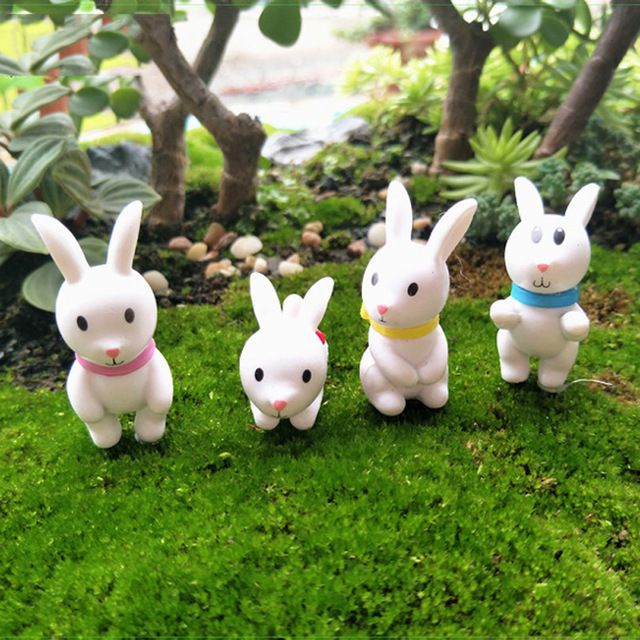 Cute Rabbits Animal Miniature Fairy Garden Moss Micro Landscape Ornament Toys