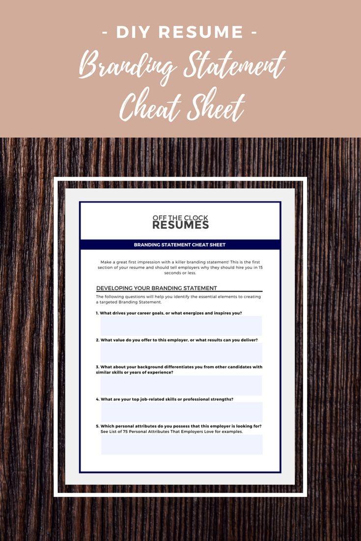 Branding Statement Cheat Sheet | Career goals