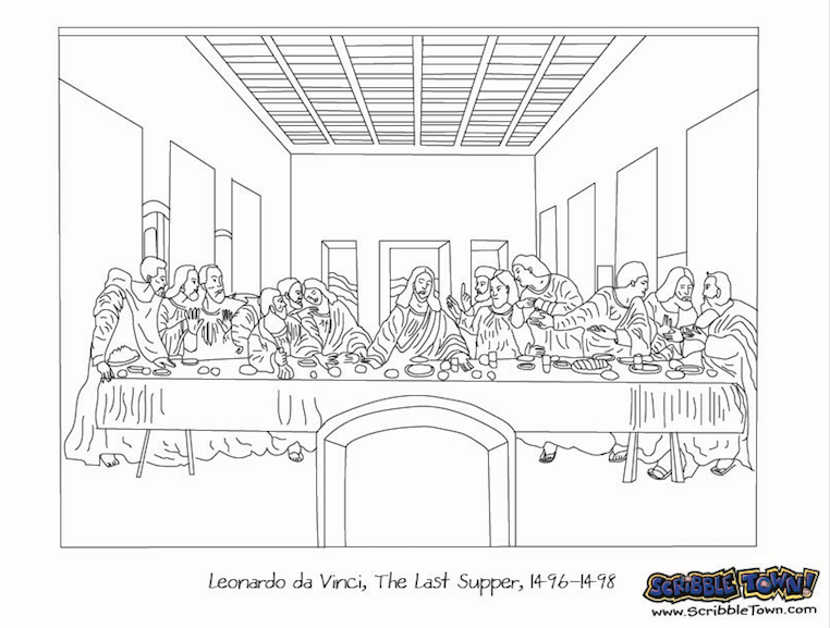 lastsupper | Renaissance Days | Adult coloring pages, Da ... Da Vinci Last Supper Coloring Pages
