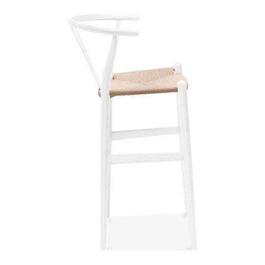 Cult Living Wishbone Wooden Bar Stool With Backrest White Natural