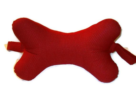 Red Dog Bone Shaped Neck Pillow With Small By Madewithlovebydeena 15 00