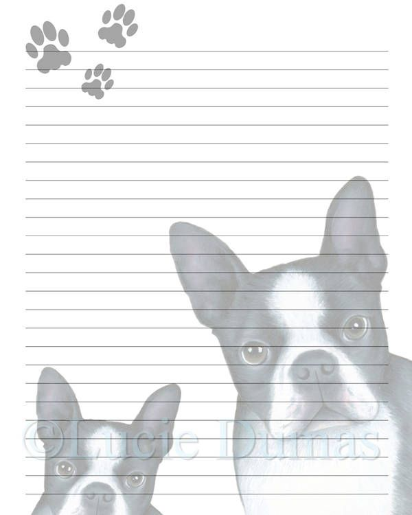 Digital Printable Journal writing lined Page Dog 128 boston terrier