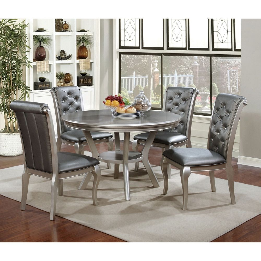 Contemporary Round Dining Room Tables Adorable Furniture Of America Mora Contemporary Champagne Round Dining Review