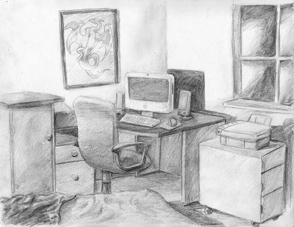 Bedroom drawing perspective - On Top Of The Bone Torsos We Had To Draw Two Environments I Of Course Did Not Get These Done Until The Next Class Nothing Too Special I Made Up The