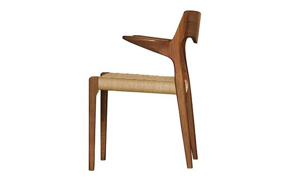 Møller Model 55 Armchair with Natural Woven Seat - designed in 1951. These chairs are authentic, fully licensed products of J.L. Møllers Møbelfabrik. Made in Denmark.