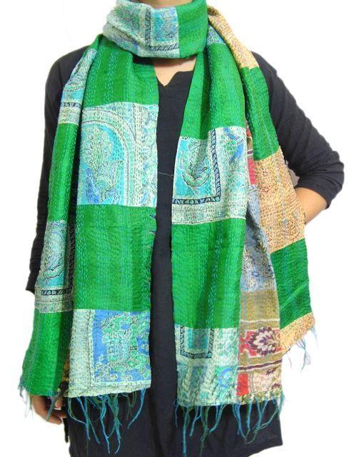 Reversible Patchwork Kantha Stole in Cotton Silk- Pattern 21