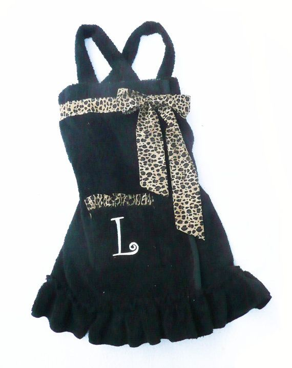 Leopard Towel Wrap, Monogrammed towel wrap with straps and