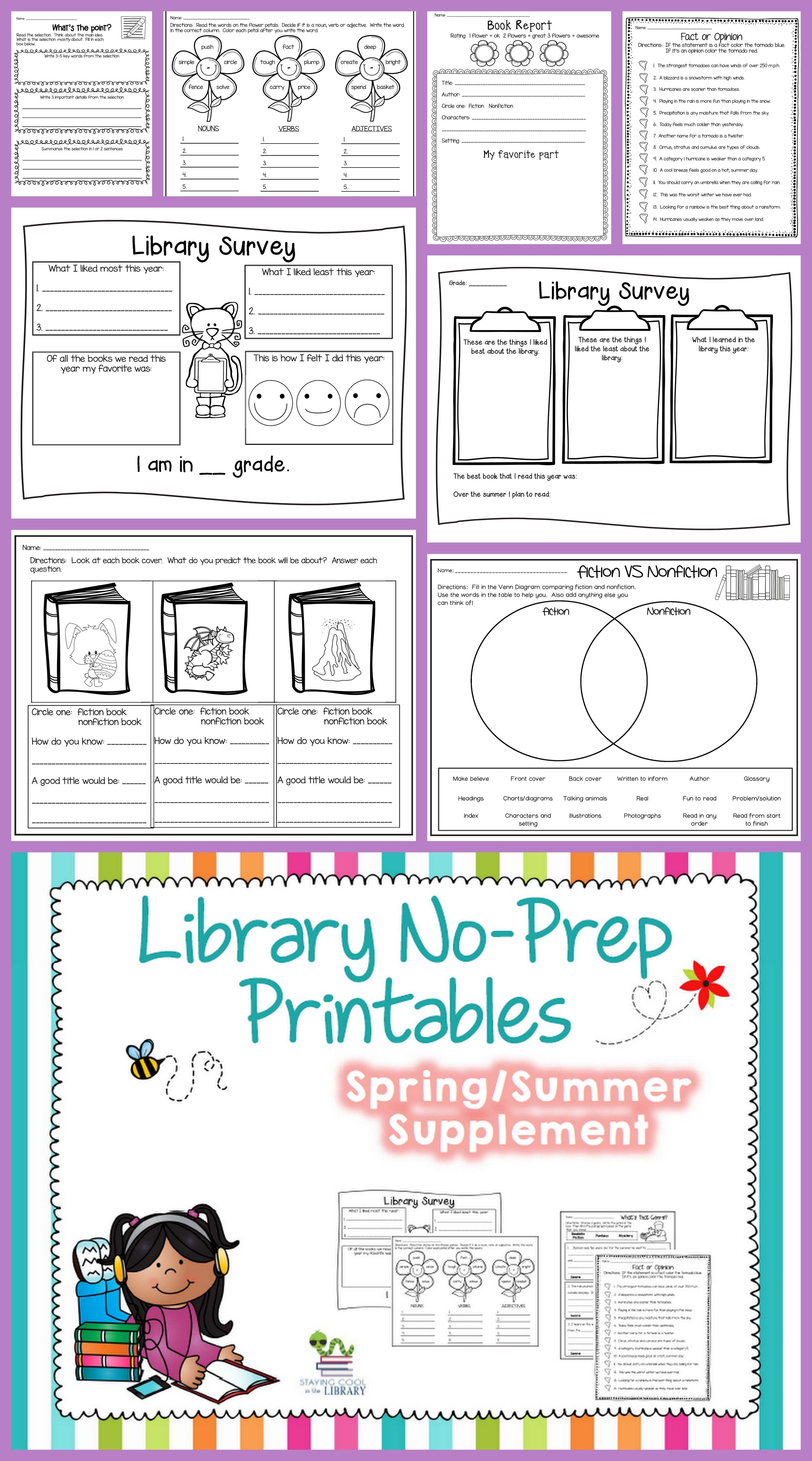 Worksheets For Librarians : Library no prep printables spring summer and