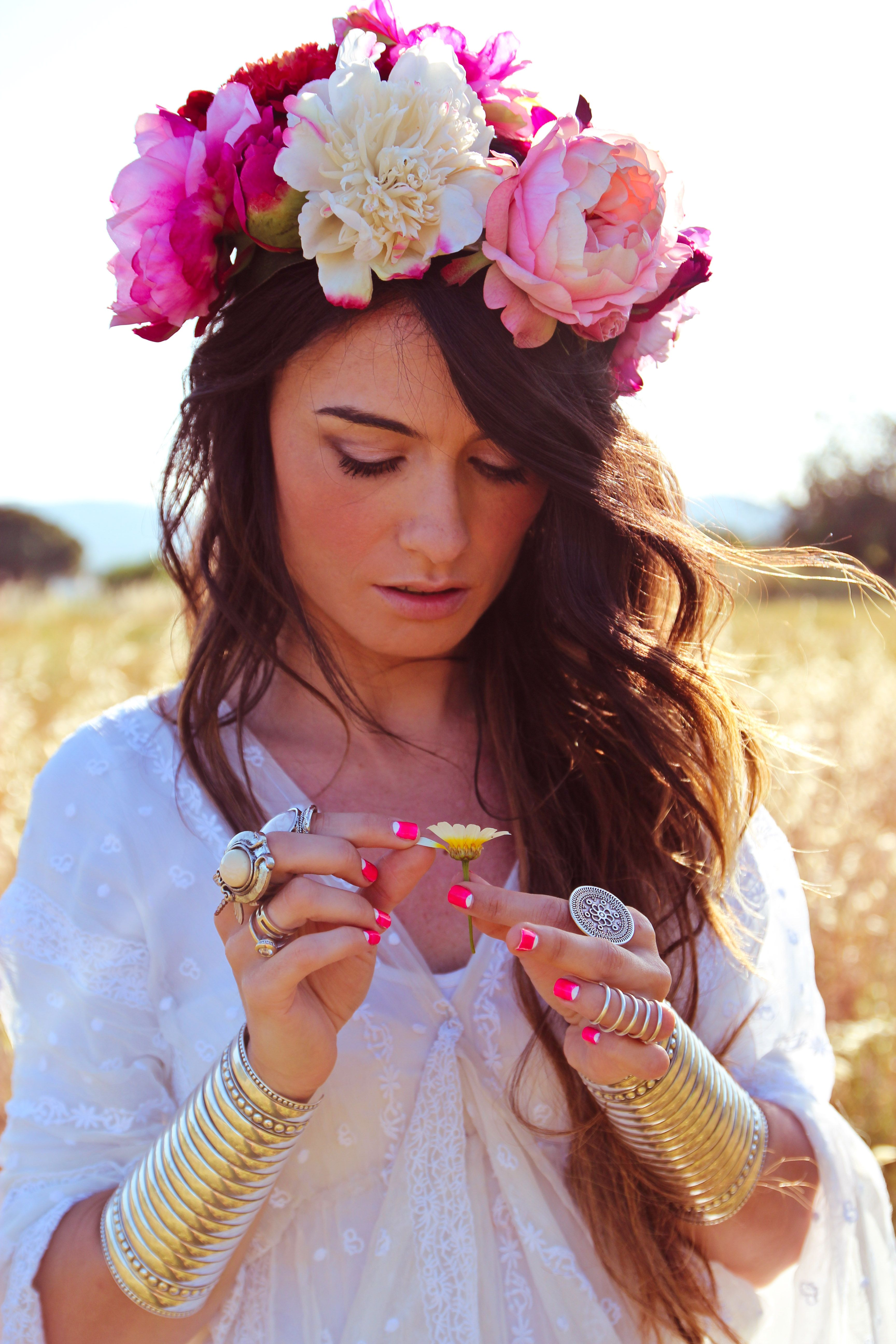 Flowered Crown Bracelets Hippy Dress Boho Chic Pinterest