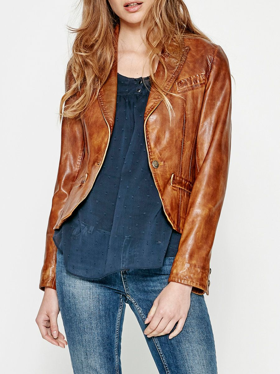 #AdoreWe #StyleWe DDP Camel Buttoned H-line Casual Leather Jacket - AdoreWe.com