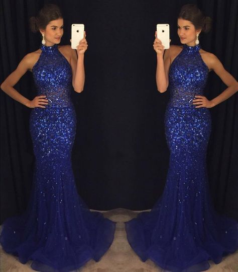 Mermaid Navy Blue High Neck Rhinestone Sequin Prom Dresses