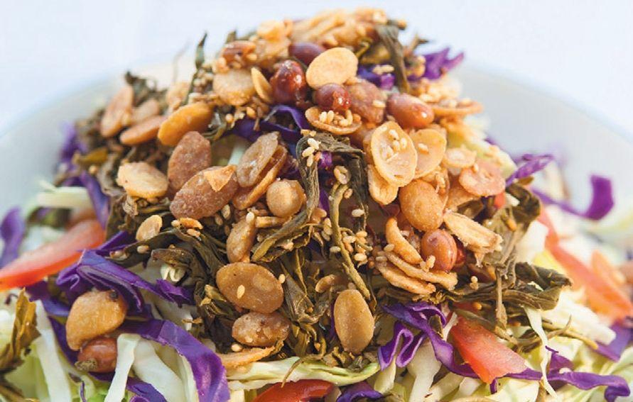 Pickled Tea Leaf Salad Laphet Thoke Recipe Tea Leaf Salad Tea Leaves Citrus Fish