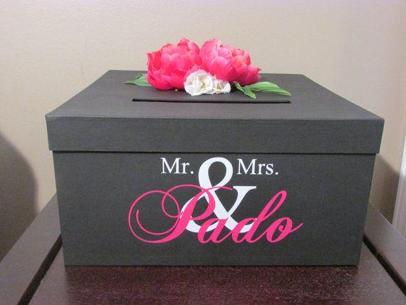 Wedding Gift Box Holder: Black And Pink Wedding Card Box 12 Inch, Black Wedding