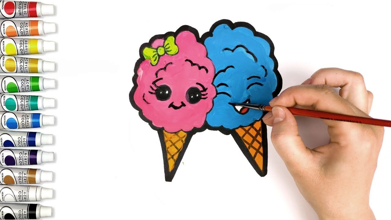 2 Cute Ice Creams in Love | Coloring and Drawing for Kids ...