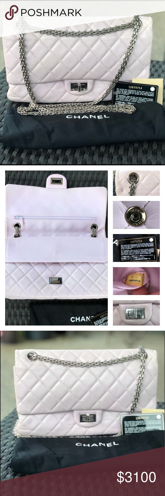 96ba33d6ba0310 Chanel Double Flap 2.55 CHANEL Light Pink 2.55 Reissue Classic 226 Double Flap  Bag Quilted Lambskin Leather All metal silver strap and hardware Light pink  ...