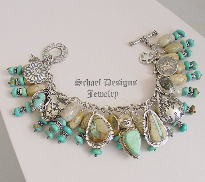 Schaef Designs boulder turquoise fossil coralturquoise Sterling