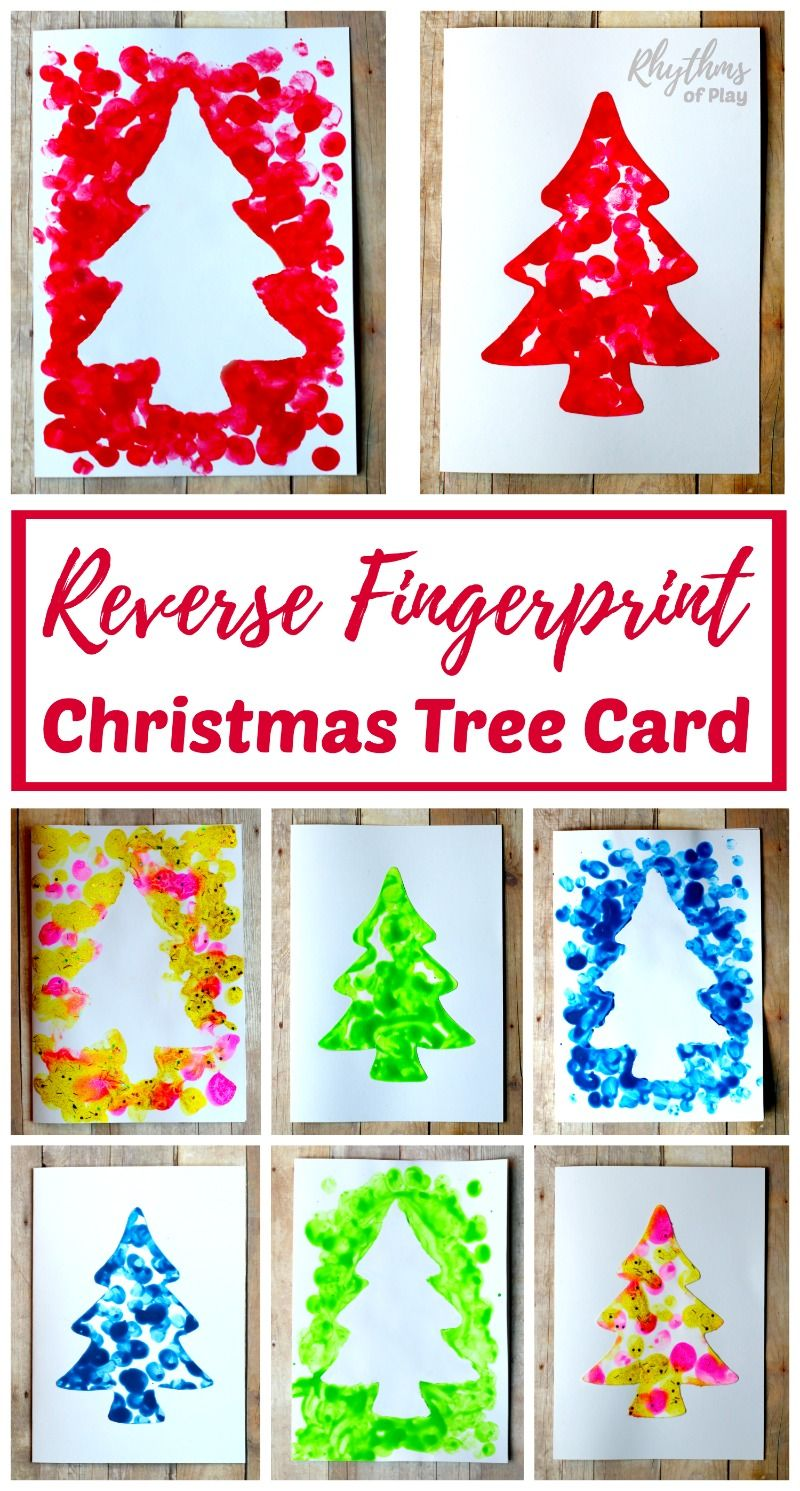 Reverse Fingerprint Christmas Tree Cards Christmas Ideas Ks1 Ks2