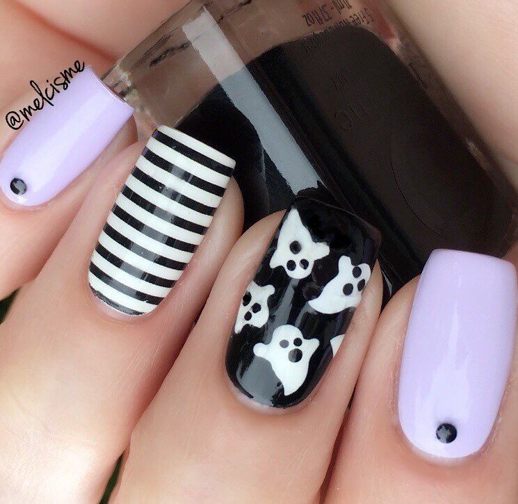 Adorable Purple White Black Striped Halloween Ghost Manicure By Melcisme Using Our Ghost Halloween Acrylic Nails Halloween Nail Designs Holloween Nails