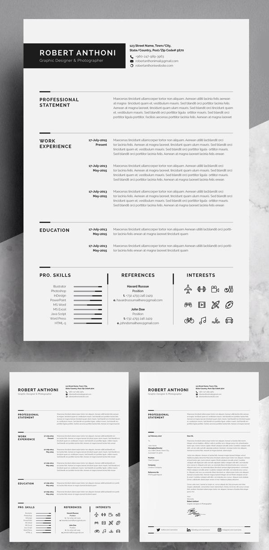 Clean Resume Cv Graphic Design Resume Resume Design Template Minimalist Resume Template