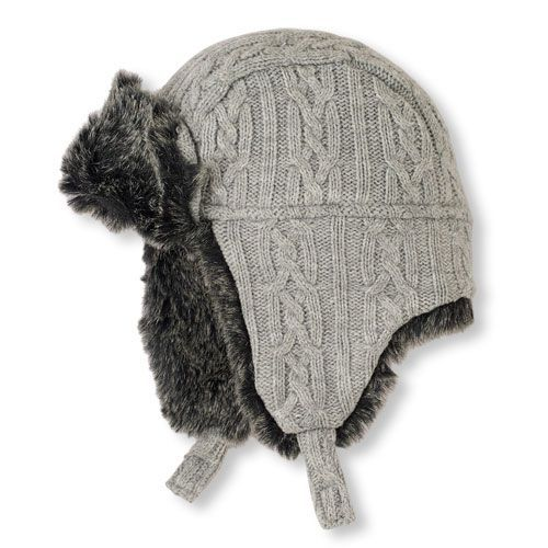 54a330bf93260b Boys Toddler Boys Faux Fur Cable Knit Trapper Hat - Gray - The Children's  Place