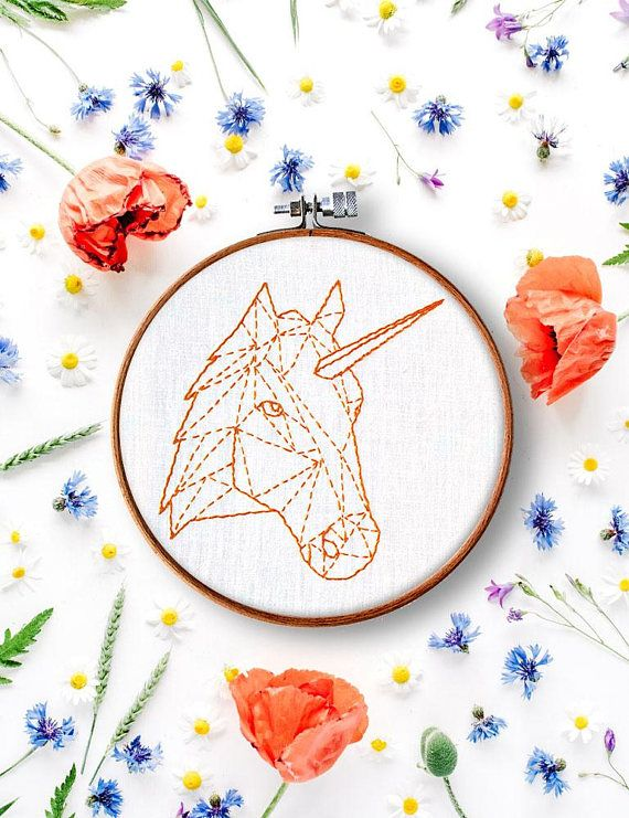 Unicorn Hand Embroidery Pattern Diy Hoop Art Beginner Embroidery