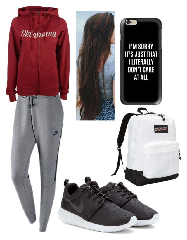 """""""School is almost over"""" by tessajeane ❤ liked on Polyvore featuring NIKE, Colosseum, Casetify and JanSport"""
