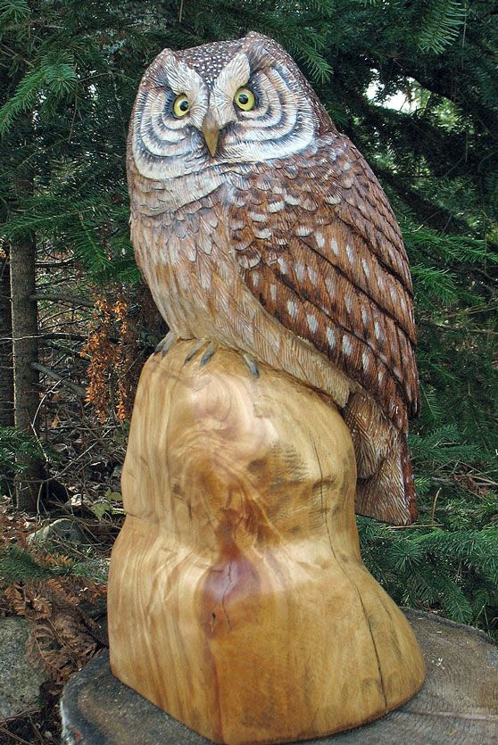 Amazing owl from stump wood carving ideas