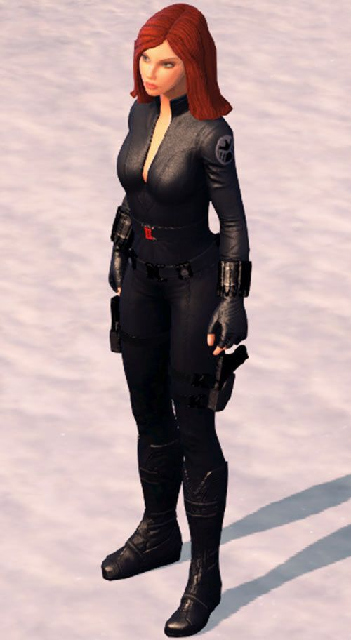 Black Widow (Marvel Heroes video game) standing in the snow. From http://www.writeups.org/black-widow-marvel-heroes-game/