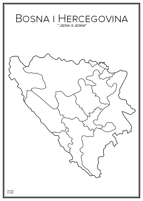Karta Over Bosnien Hercegovina.Bosnien Hercegovina I 2019 City Prints Bosnia Poster Och City