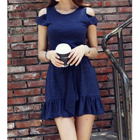 ?? Cute Round Neck Hollow Out Belted Flounce Dress For Women $22.80