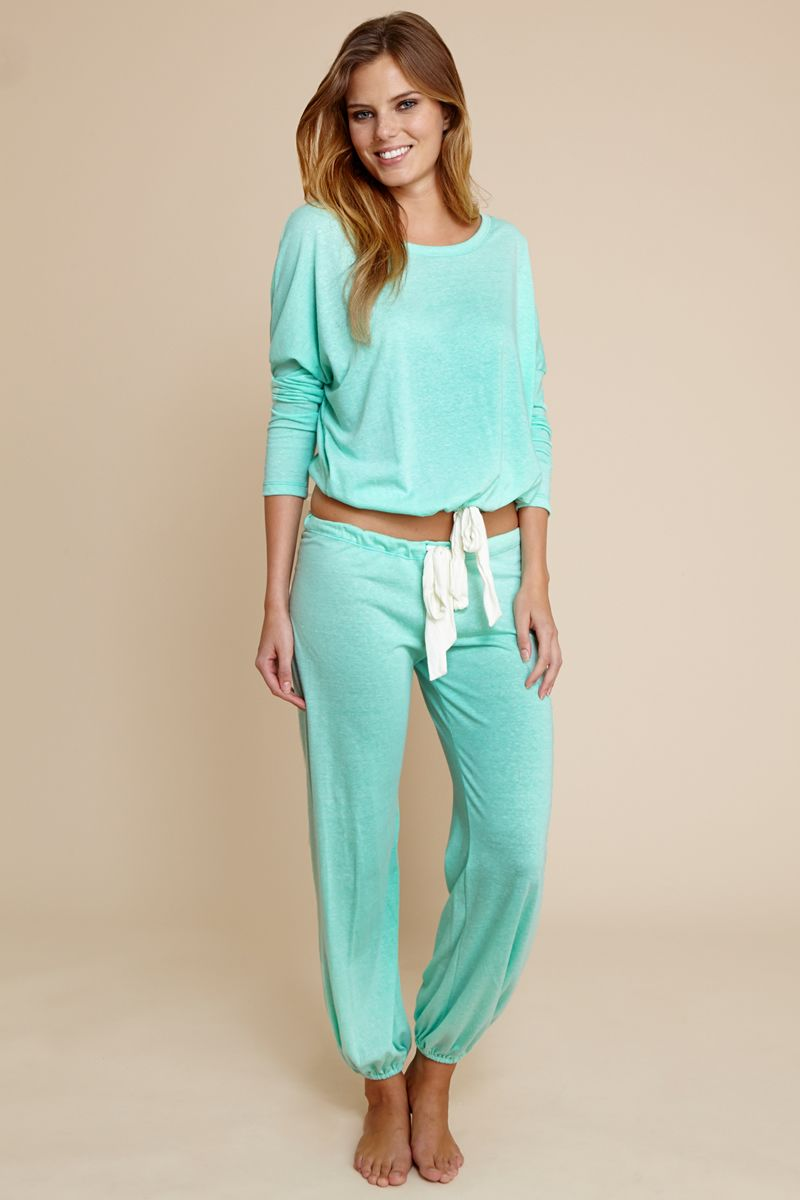 025f6e0c293 Eberjey Heather Slouchy Tee and Pants in mint glow