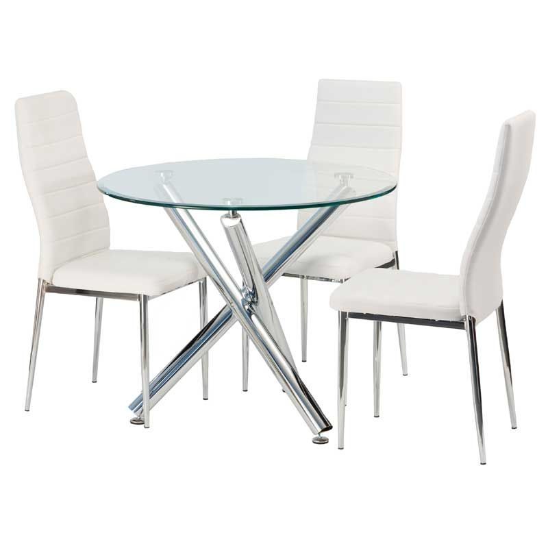 Demi Round Glass Top Dining Table 2 Glass Dining Room Table