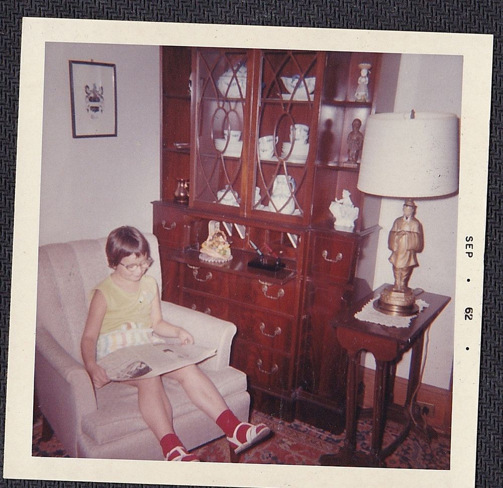 Vintage Photograph Little Girl Glasses Reading Newspaper in Chair Retro Room '62