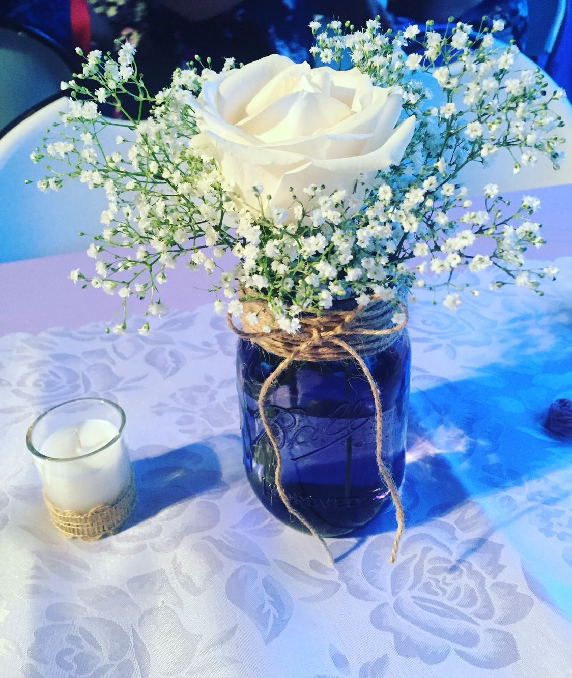 Mason jar centerpieces baby breath in
