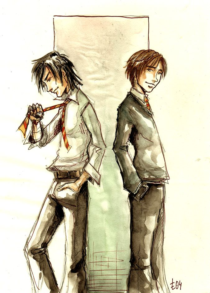 Young Sirius and Remus.  Padfoot and Moony <3