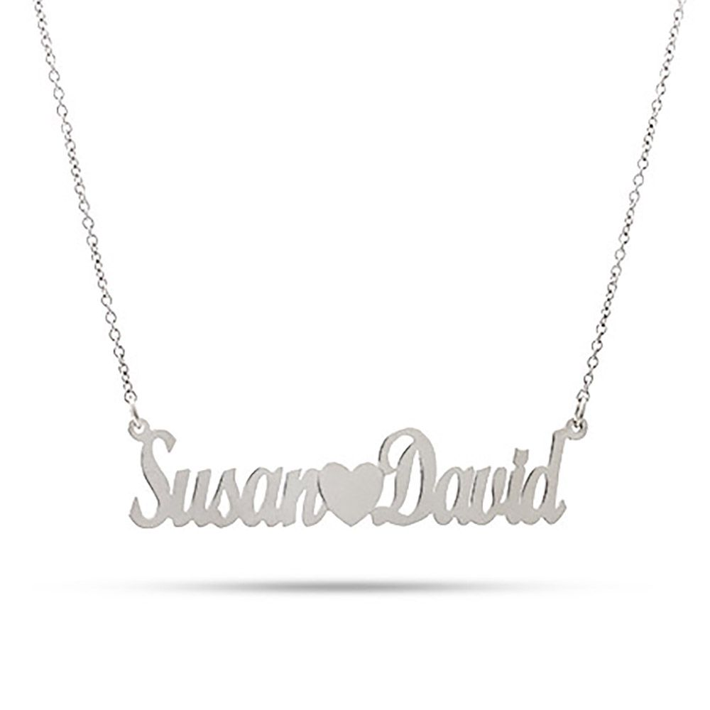 c4f7cd967b Create a couples nameplate necklace! Personalize it with two names and a  heart in between. The couples name necklace is .925 sterling silver.