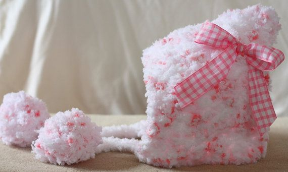 Pixie Hat Newborn Infant Baby Girl Bow Braids Pom Poms Christmas Holiday Photo Prop Baby Shower Gift Soft Chunky Crochet Pink White by The Patchwork Nest, $23.00