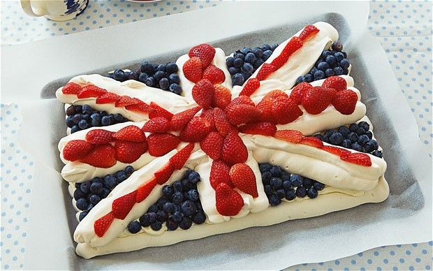 Jubilee meringue cake :A spectacular Union Jack pavlova decorated with strawberries and blueberries - perfect for a Diamond Jubilee Tea