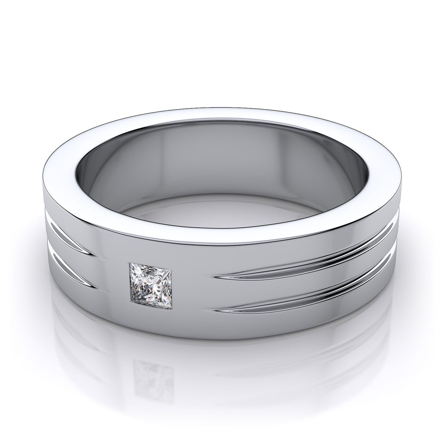 men's princess cut diamond wedding ring in 18k white gold | art
