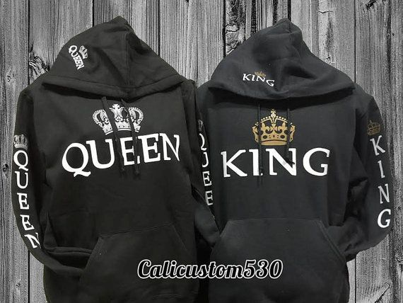 63ed8c8467 2 Matching Queen And King Black Hoodies by calicustom530 on Etsy